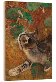 Wood print  Cat - Bruno Andreas Liljefors