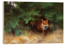 Wood print  Fox Hiding Under Spruce - Bruno Andreas Liljefors