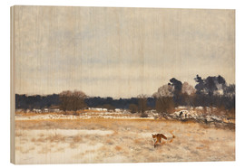 Wood print  Fox in the countryside - Bruno Andreas Liljefors