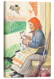 Canvas print  sitting on the kitchen porch with the kitty - Jenny Nyström