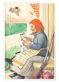 Poster  sitting on the kitchen porch with the kitty - Jenny Nyström