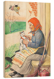 Wood print  sitting on the kitchen porch with the kitty - Jenny Nyström