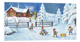 Foam board print  Winter Landscape with Nisse - Jenny Nyström