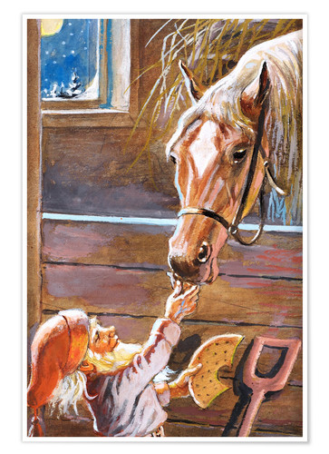 Premium poster Dwarf Feeds a Horse in the Stable