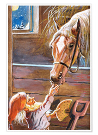 Premium poster  Dwarf feeds the horse in the stable - Jenny Nyström