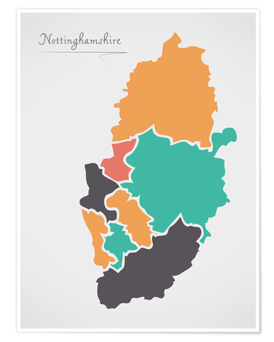 Premium poster Nottinghamshire county map modern abstract with round shapes