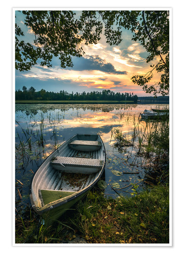 Premium poster Romantic evening mood at the lake, Sweden