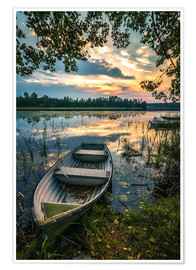 Premium poster  Romantic evening mood at the lake, Sweden - Sören Bartosch
