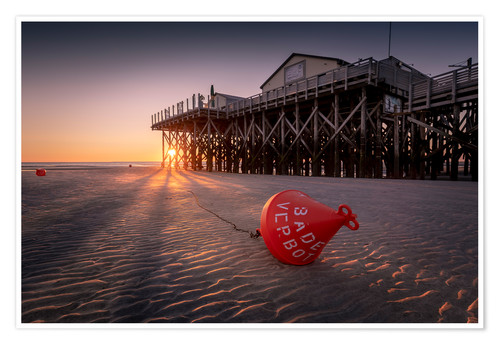Premium poster St. Peter Ording   Sunset at the sea