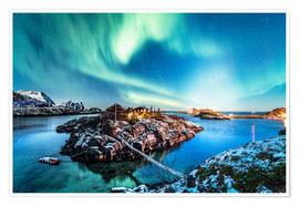 Premium poster Northern Lights in Northern Norway (Senja Island)