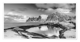 Premium poster Arctic shore - Northern Norway (monochrome)