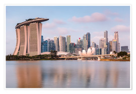 Premium poster Singapore skyline at sunrise