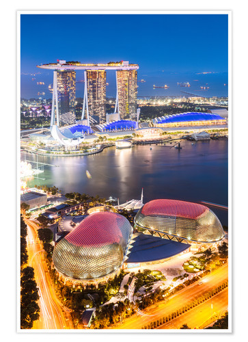 Premium poster Marina Bay Sands at night, Singapore