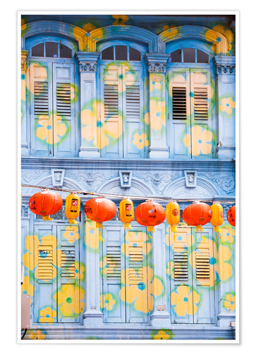 Premium poster Painted shutters in Chinatown, Singapor