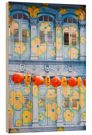 Wood print  Painted shutters in Chinatown, Singapor - Matteo Colombo