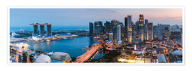 Premium poster Singapore skyline panoramic at sunset