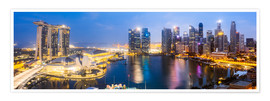 Premium poster  Singapore skyline panoramic - Matteo Colombo