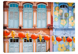 Canvas  Colourful windows in Chinatown, Singapore - Matteo Colombo