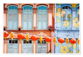 Premium poster  Colorful windows in Chinatown, Singapore - Matteo Colombo