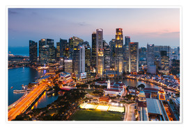 Premium poster  Singapore skyline at sunset - Matteo Colombo