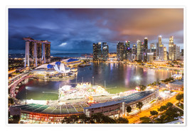 Premium poster  Singapore skyline and Marina Bay Sands - Matteo Colombo