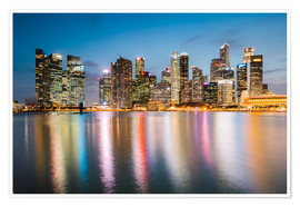 Premium poster Singapore skyline at night