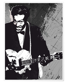 Premium poster Chuck Berry black and white art print