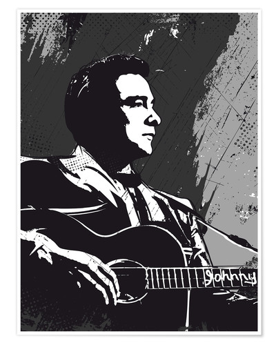 Premium poster Johnny Cash black and white art print