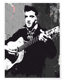 Poster Elvis Presley black and white art print