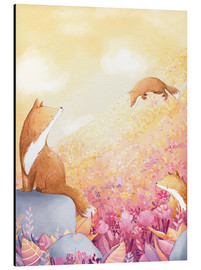 Alu-Dibond  Foxes and summer flowers - Rebecca Richards