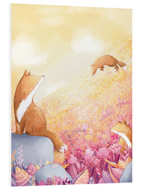 Foam board print  Foxes and summer flowers - Rebecca Richards