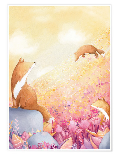 Poster Foxes and summer flowers
