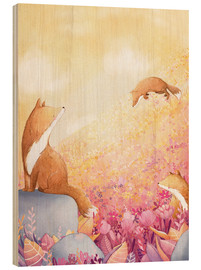 Wood print  Foxes and summer flowers - Rebecca Richards