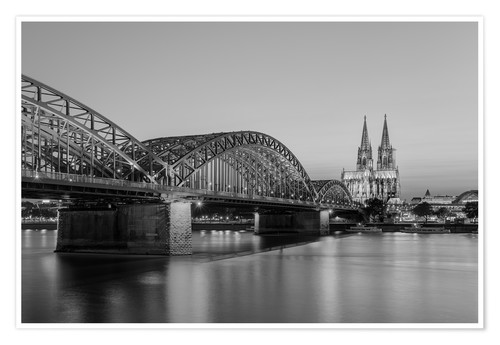 Premium poster Hohenzollern Bridge and Cologne Cathedral black-and-white