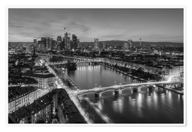 Premium poster  Frankfurt skyline black-and-white - Michael Valjak