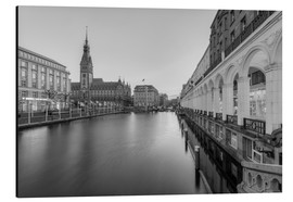 Aluminium print  Hamburg Alsterarkaden and city hall black-and-white - Michael Valjak