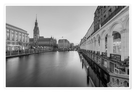Premium poster  Hamburg Alsterarkaden and city hall black-and-white - Michael Valjak