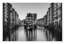 Premium poster Hamburg Speicherstadt black-and-white