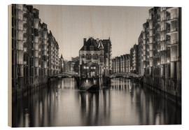 Wood print  Hamburg Speicherstadt black-and-white - Michael Valjak