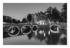 Premium poster Amsterdam Keizersgracht black-and-white