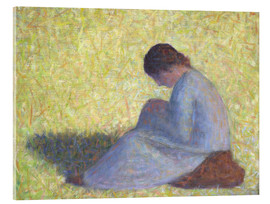 Acrylic print  Peasant Woman Seated in the Grass - Georges Seurat