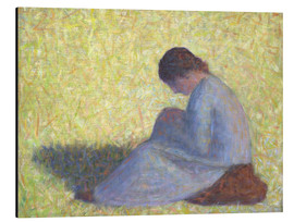 Alu-Dibond  Peasant Woman Seated in the Grass - Georges Seurat
