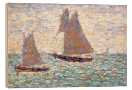 Wood print  Boats In Harbor - Georges Seurat
