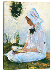 Canvas print  Girl reading by a stream - John Singer Sargent