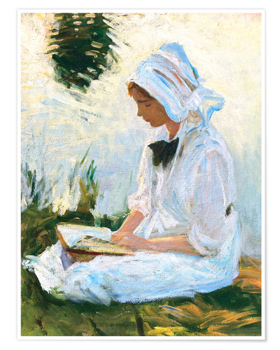 Premium poster Girl reading by a stream