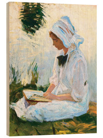 Wood print  Girl reading by a stream - John Singer Sargent