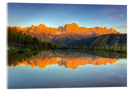 Acrylic print  Alpenglow on the rose garden in the Dolomites in South Tyrol - Michael Valjak