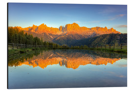 Alu-Dibond  Alpenglow on the rose garden in the Dolomites in South Tyrol - Michael Valjak