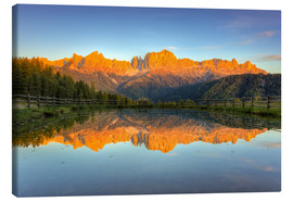 Canvas  Alpenglow on the rose garden in the Dolomites in South Tyrol - Michael Valjak