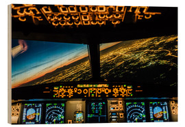 Wood print  Airbus A320 Landing in Moscow, Russia - Ulrich Beinert